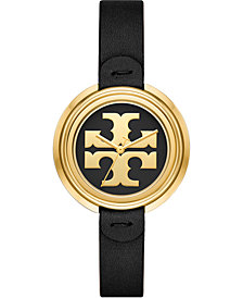 Tory Burch Women's The Miller Black Leather Strap Watch 36mm