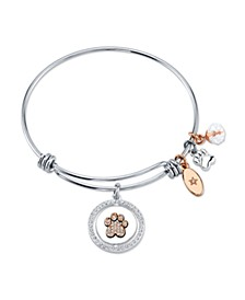 """Best Friends"" Paw Print Bangle Bracele in Stainless Steel & Rose Gold-Tone with Silver Plated Charms"