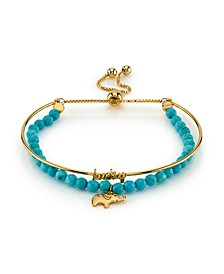 """Gold Tone Fine Plated Silver """"Lucky"""" Elephant Turquoise Bead Bolo Bracelet"""