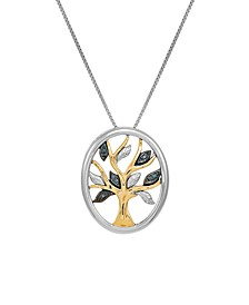 Diamond Accent Family Tree Pendant in 14K Yellow Gold over Sterling Silver