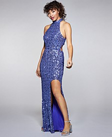 Juniors' Sequined Open-Back High-Low Gown
