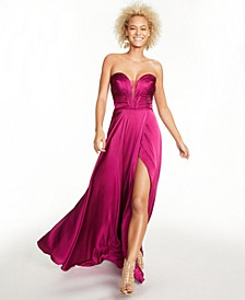 Juniors' Sweetheart Ruched Gown