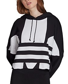 Women's Cotton Large-Logo Cropped Hoodie