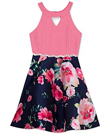 Big Girls Glitter Floral-Print Dress