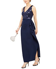 Side-Ruched V-Neck Gown