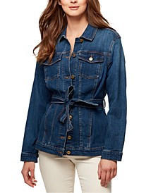 Tie-Waist Denim Trucker Jacket