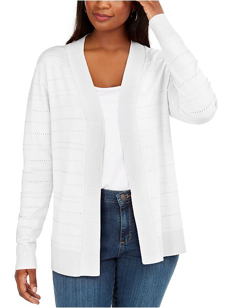 Karen Scott Pointelle Open-Front Cardigan, Created for Macy's