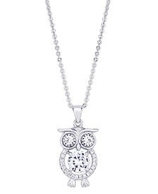 Cubic Zirconia Owl Pendant Necklace in Fine Silver Plate