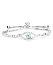 Cubic Zirconia Evil Eye Adjustable Bolo Bracelet In Fine Silver Plate