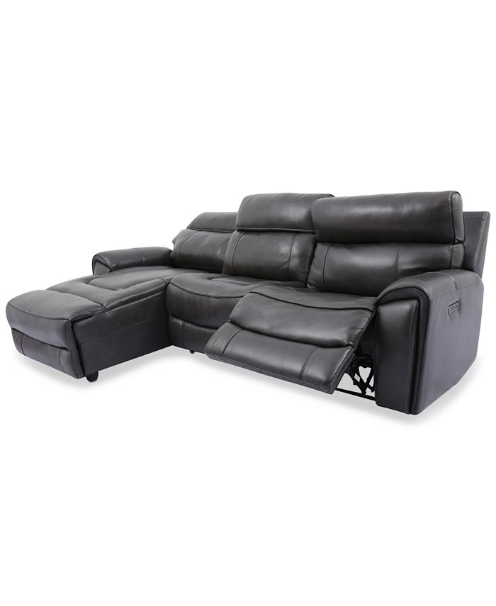 Furniture - Hutchenson 3-Pc. Leather Chaise Sectional with Power Recliner and Power Headrest