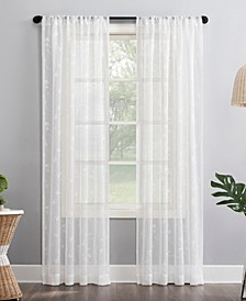"""Delia 50"""" x 84"""" Embroidered Floral Sheer Curtain Panel"""