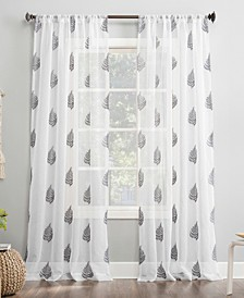 """Fern Embroidered 50"""" x 84"""" Sheer Curtain Panel"""