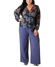 Plus Size Sheer Printed Wrap Top