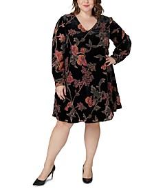 Plus Size Printed Velvet Dress