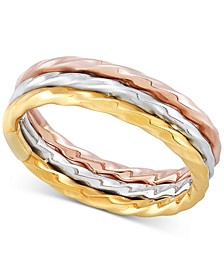Tricolor Triple Row Statement Ring in 10k Gold, White Gold and Rose Gold