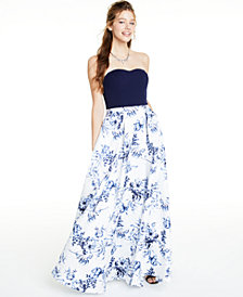 Speechless Juniors' Floral-Print Gown, Created for Macy's
