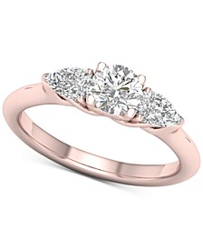 Diamond Round & Pear Engagement Ring (1 ct. t.w.) in 14k Rose Gold