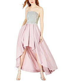 Juniors' Glitter-Top High-Low Gown, Created for Macy's