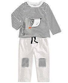 Baby Boys Striped Dog T-Shirt & Knee Patch Pants, Created For Macy's