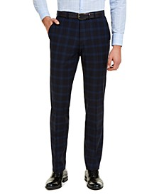Men's Modern-Fit Navy Plaid Suit Pants