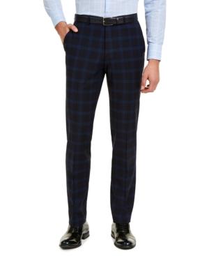 Hugo Men's Modern-Fit Navy Plaid Suit Pants