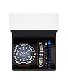Men's Brown Analog Quartz Watch And Holiday Stackable Gift Set