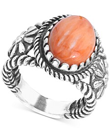 Orange Spiny Oyster Flower Statement Ring in Sterling Silver