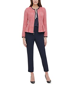 Peplum-Hem Tweed Blazer, Contrast-Trim Tie-Neck Blouse & Contrast-Trim Tie-Neck Blouse