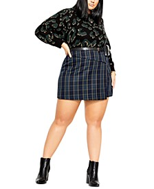 Trendy Plus Size Plaid Skort