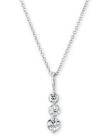 "Certified Diamond Graduated Journey Pendant Necklace (1/2 ct. t.w.) in 14k White Gold, 16"" + 2"" extender"