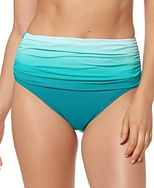 Ombre Ruched High-Waist Tummy Control Bikini Bottoms