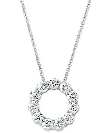 "Certified Diamond Circle Pendant Necklace (2 ct. t.w.) in 14k White Gold, 16"" + 2"" extender"
