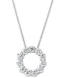 """Certified Diamond Circle Pendant Necklace (2 ct. t.w.) in 14k White Gold, 16"""" + 2"""" extender"""
