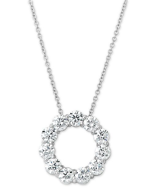 """Macy's Certified Diamond Circle Pendant Necklace (2 ct. t.w.) in 14k White Gold, 16"""" + 2"""" extender"""