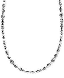 "Beaded Statement Necklace in Sterling Silver, 18"" + 3"" extender"
