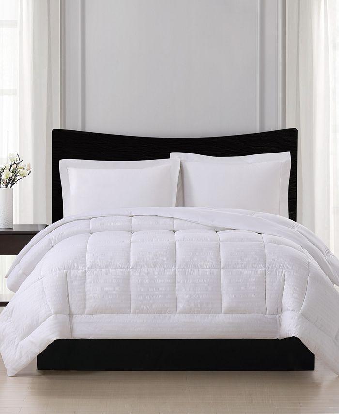 London Fog - Embossed Stripe Seersucker Down Alternative Comforter, King