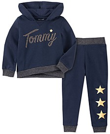 Little Girls 2-Pc. Embellished Stars Hoodie & Jogger Pants