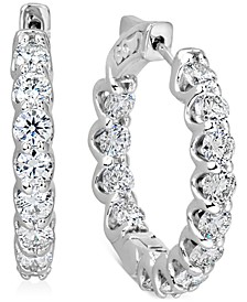 IGI Certified Diamond Small Hoop Earrings (4 ct. t.w.) in 14k White Gold, 1""