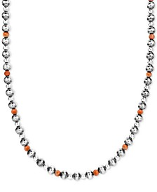"""Orange Spiny Oyster & Polished Bead Statement Necklace in Sterling Silver, 25"""" + 2"""" extender"""