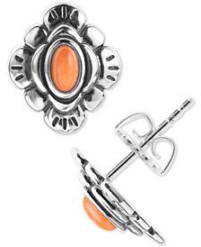 Orange Spiny Oyster Flower Stud Earrings in Sterling Silver