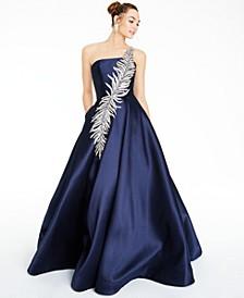 Juniors' Embellished One-Shoulder Gown
