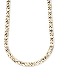 "Men's Two-Tone Curb Link 22"" Chain Necklace in 10K Yellow and White Gold"