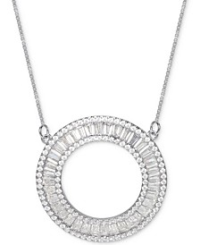 "Cubic Zirconia Baguette Circle 18"" Pendant Necklace in Sterling Silver"