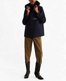 Faux Fur Hooded Wool Coat