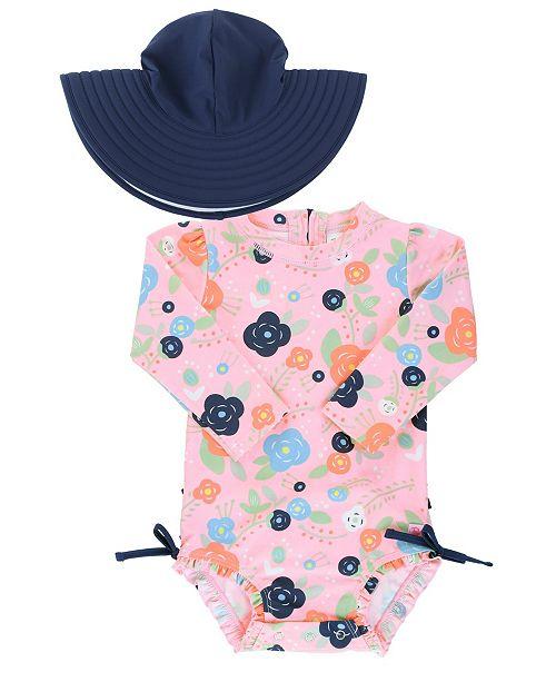 RuffleButts Baby Girl's Long Sleeve Rash Guard Swimsuit Swim Hat Set