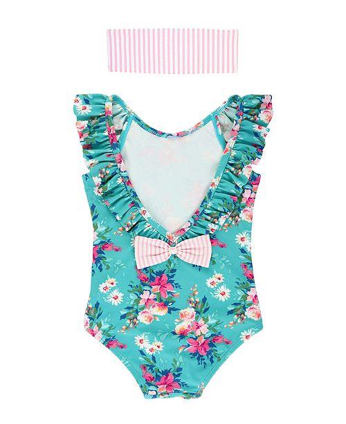 RuffleButts Toddler Girl's Ruffled Swimsuit Swim Headband Set
