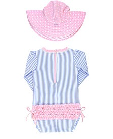 Baby Girl's Long Sleeve Rash Guard Swimsuit Swim Hat Set