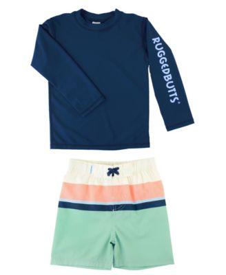 Boys Two Piece Rash Guard Swimsuits Toddler Kids Boys Long Sleeve Bathing Suit Swimwear Sets