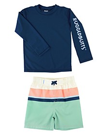 Ruggedbutts Baby Boys Long Sleeve Rash Guard Swim Trunk Set, 2 Piece
