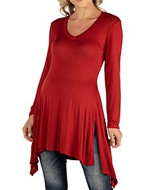 Women's Long Sleeve Side Slit Hem Maternity Tunic Top